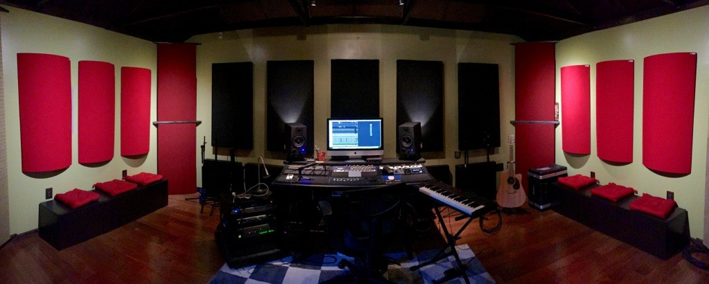 Bonzi Recording Front GIK Acoustics Evolution PolyFusor and 242 Acoustic Panels