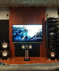 Sylvain Boitard home theater with GIK 244 Bass Trap Tri-Trap Corner Bass Trap